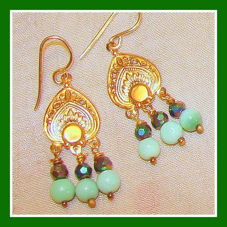 Beautiful Green Indian Stone Delicate Beaded  Chandelier Earrings.