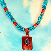 SOLD Sleeping Beauty Turquoise Necklace with Solid Copper Spacers & Clasp