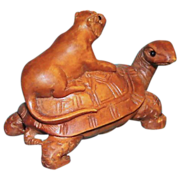 SALE Midsized Wild Cat Riding on a Gigantic Prehistoric Snapping Turtle