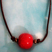 Bright Red Nepalese ROUND Big Center Bead on Brown Leather Necklace