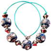 Studded Teal Bead 17 Inch Necklace