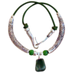 Great Green Leather Necklace with Aventurine Pendant