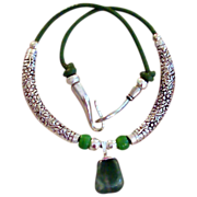 SALE Great Green Leather Necklace with Aventurine Pendant