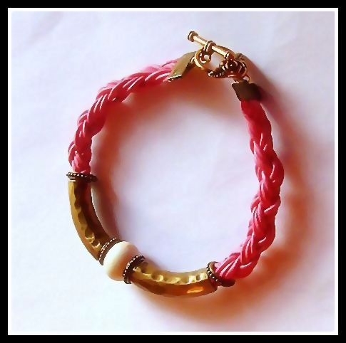"Pink Leather ""Little Surfer Girl"" Bracelet with White & Bronze Embellishments"