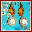 Grandparent Clock Earrings with Vintage Czech Glass Parts