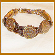 SOLD Neat Romanesque Bronze and Leather Bracelet