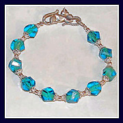 SALE Feminine Blue and Green Crystal Bracelet with Sterling Silver Parts