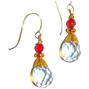 Petite Round Faceted Clear Briolette Earrings with Swarovski Crystals