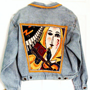 SALE Jazz Age Theme Needlepoint Denim Jacket