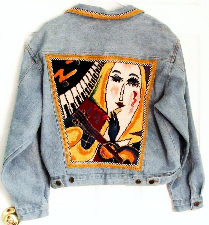 Jazz Age Theme Needlepoint Denim Jacket