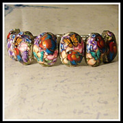 SALE Parrots Polymer Clay Cuff Bracelet