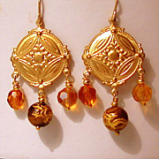 Gold Tone Dragon Bead Earrings with Swarovski Crystals