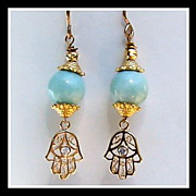 Larimar Vermeil Hamsa Hand Earrings
