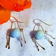 Blue Larimar Stone and Sterling Silver Artisan Hammered Jewelry
