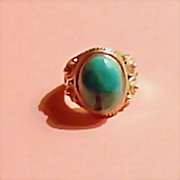 Vintage Authentic Turquoise and Sterling Silver Ring