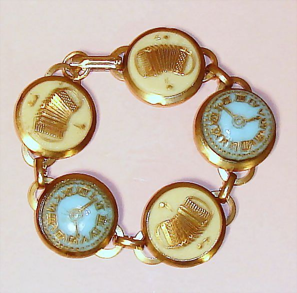 Accordions and Glass Clock Faces Vintage Bracelet