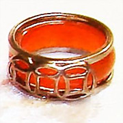 SOLD Vintage Tan Jade (from Jadeite) Band Ring Decorated in Silvertone 7
