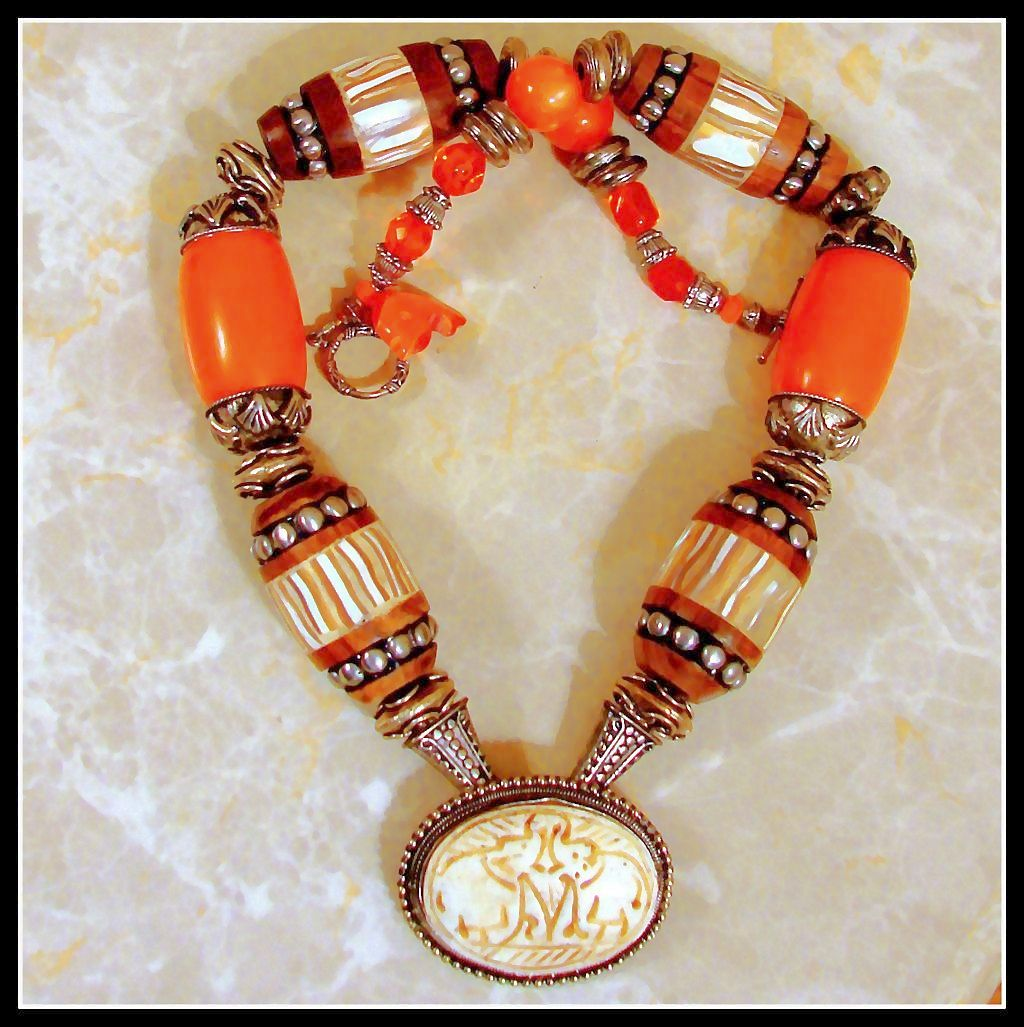 REALLY  Powerful  BIG Power Woman Nepalese Beaded Necklace