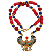 Egyptian Themed Necklace with Classical  Colored Beads and Thunderbird Pendant