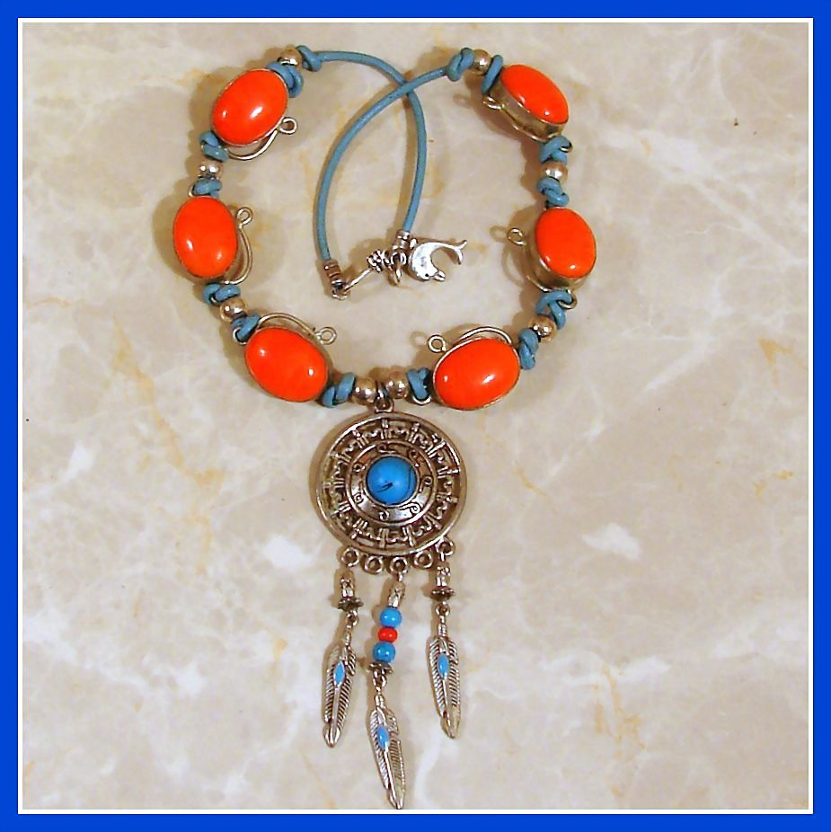 Sterling Silver, Orange Stone, Turquoise Blue Leather Necklace