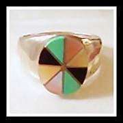 Vintage Zuni Multi Stone Sterling Silver Ring Early 1960s Size 6