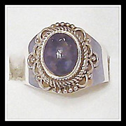 Size 8 Vintage Blue Stone and Sterling Silver Big Ring