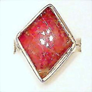 Vintage 8.5 Sterling Silver Rare Red Rutilated Quartz Ring