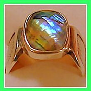 Vintage Pre-owned Sterling Silver Abalone Stone Ring 7