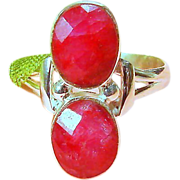 Vintage Size 9.75 Sterling Silver Faceted Ruby Ring