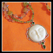 22 Inch Bali Moon Face 3 Strand Glass Beaded Necklace