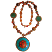 Nepalese Pendant Dominant with Turquoise on Nepalese Bead Necklace