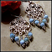 SALE Larimar and Sterling Silver Chandelier Earrings
