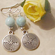SALE Larimar Earrings with Chartres Cathedral Labyrinth Designed Charms