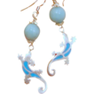 Larimar Orbs and Fire Opal Salamanders Sterling Silver Earrings