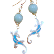 SALE Larimar Orbs and Fire Opal Salamanders Sterling Silver Earrings