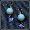 Sterling Silver Larimar Earrings with Sterling Turtles