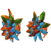 1950's Clip On Metal Tropical Type Flower Earrings