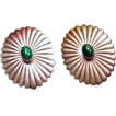 Vintage Hand Crafted Nickel Silver Malachite Clip-Back Earrings