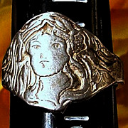 SOLD Vintage Size 7 Sterling Silver Art Deco Style Lady's Head RIng
