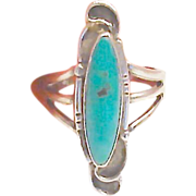 Vintage 6.5 Sterling Silver Long Turquoise Ring
