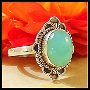 Vintage 7.5 Chrysocolla Sterling Silver Ring