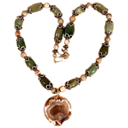 20&quot; Green Stone Silvertone Necklace with Natural Geode Pendant