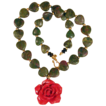 "Ruby Zoisite 20"" Necklace with Red Coral Flower Pendant"