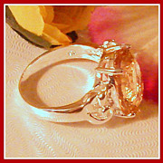 Vintage 8 Sterling Silver Peach Crystal Ring