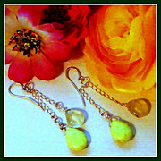 Green Turquoise and Clear Prehnite Sterling Silver Briolette Earrings