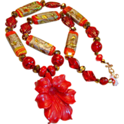 Oriental Style Glass Lampwork Necklace with Red Coral Colored Pendant