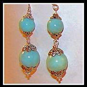 SOLD Two Inch Dangling Orbs Larimar Earrings