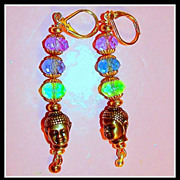 Little Buddha Pewter Heads and Swarovski Crystals Earrings