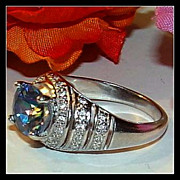 Vintage 8 Sterling Silver Blue CZ Ring
