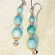 Three Orb Larimar and Sterling Silver Earrings